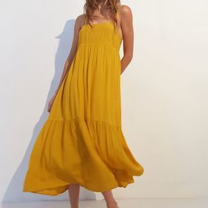 UO Haverford Frock Midi Dress Yellow S NWT